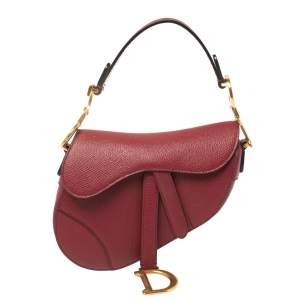Dior Burgundy Leather Mini Saddle Shoulder Bag