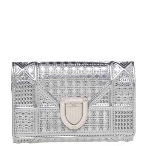 Dior Metallic Silver Micro Cannage Leather Diorama Wallet