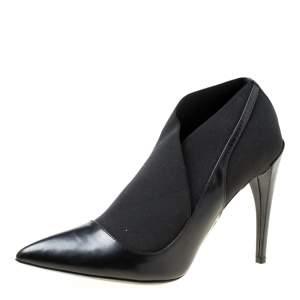 حذاء بوت ديور مقدمة مدببة جلد أسود مقاس 39