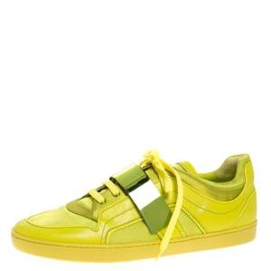 Dior Apple Green Leather and Mesh Lace Sneakers Size 41
