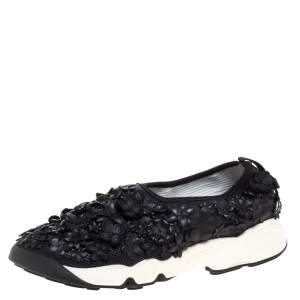 Dior Black Leather Fusion Floral Applique Sneakers Size 37