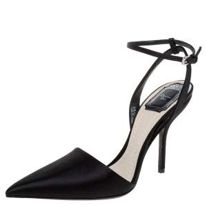 Dior Black Satin Ankle Strap Pointed Toe Sandals Size 39