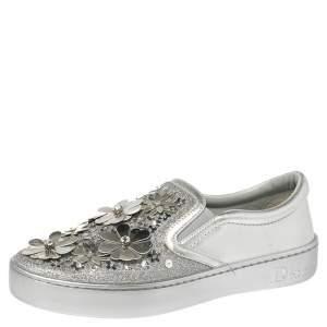 Dior Silver Leather and Glitter Dior Happy Floral Slip On Sneakers Size 36