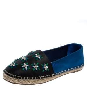 حذاء إسبادريل ديور كانفاس أسود*أزرق مزخرف ريفيرا فلات مقاس 40
