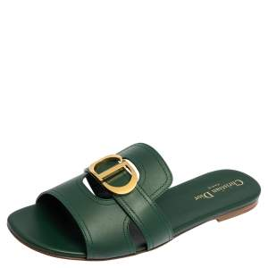 Dior Green Leather 30 Montaigne Flat Sandals Size 40