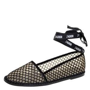 Dior Black Raffia J'adior Flat Ankle Wrap Espadrilles Size 40