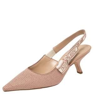 Dior Beige Metallic Technical Fabric J'Adior Slingback Sandals Size 38