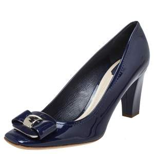 Dior Navy Blue Patent Leather Buckle Pumps Size 42