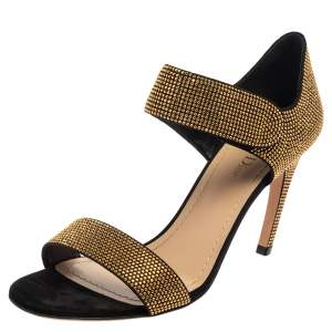 Dior Black/Gold Studded Suede Open Toe Ankle Strap Sandals Size 40.5