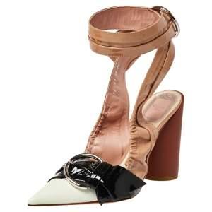Dior Multicolor Patent Leather Conquest Buckle Detail Ankle Wrap Sandals Size 36
