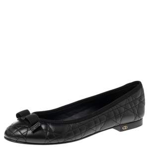 Dior Black Cannage Leather My Bow Ballet Flats Size 37.5
