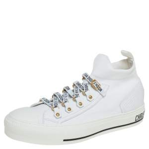 Dior White Fabric Walk'n'Dior Lace Up High-Top Sneakers Size 38