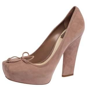 Christian Dior Beige Suede Bow Platform Pumps Size 38.5