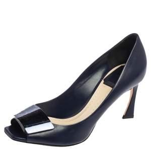 Dior Navy Blue Leather Declinaison Defile Open Toe Pumps Size 36