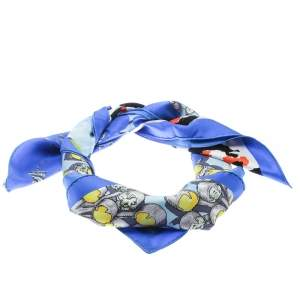 Dior Blue Croquis Printed Silk Square Scarf