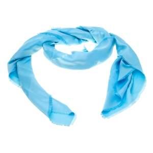 Dior Blue So Dior Silk and Wool Jacquard Fringed Edge Shawl
