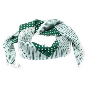 Dior Green and White Polka Dotted Silk Square Scarf