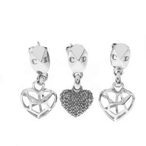 Dior Crystal Heart Silver Tone Set of Three Drop Earrings