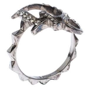 Dior Crystal Logo Silver Tone Ring Size 54