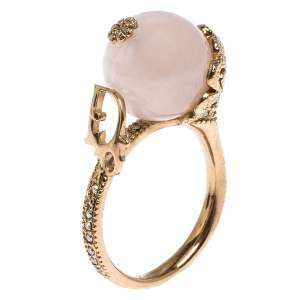 Christian Dior Gold Tone Faux Pearl Ball Crystal Embellished Ring Size 55