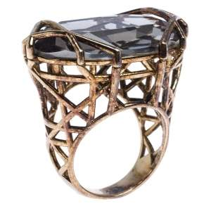 Dior Gold Tone Crystal Cannage Cocktail Ring Size 58