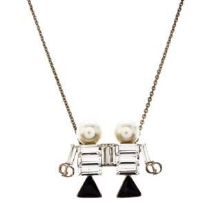 Dior Tell Me Dior Gemini Faux Pear Gold Tone Pendant Necklace
