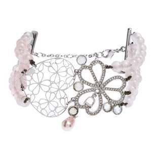 Dior Silver Tone Crystal Embellished Multi Strand Beaded Bracelet