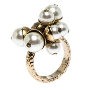Dior Mise en Dior Faux Pearl Gold Tone Ring Size 54.5