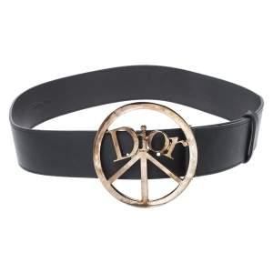 Dior Black Leather Round Logo Buckle Belt 75CM