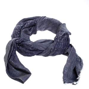 Dior Chambray Blue Silk and Linen Jacquard Scarf