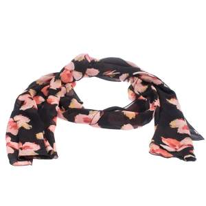 Dior Black Floral Print Silk Ruffled Hem Scarf