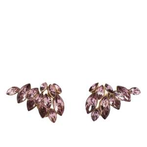 Dior Gold Tone Pink Floral Crystal Clip On Earrings