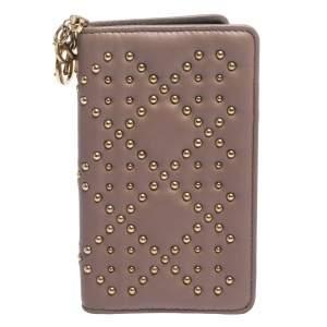 حافظة غطاء أيفون 7 ديور Lady Dior جلد مرصعة وردية داكنة
