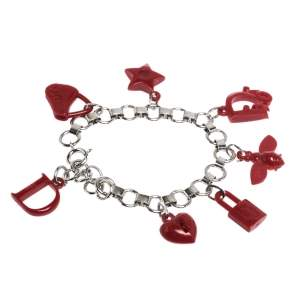 Dior Red Resin Multi Charm Silver Tone Link Bracelet