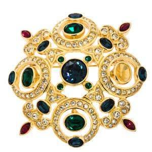 Dior Vintage Multicolor Crystal Gold Tone Pin Brooch