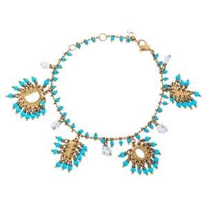 Dior Turquoise Blue Crystal Logo Beaded Bracelet
