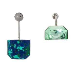 Dior Malachite Stone & Crystal Asymmetric Drop Earrings