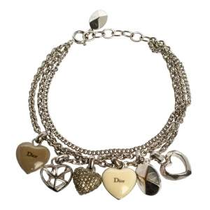 Dior Silver Tone Pop Hearts Charm Layered Bracelet