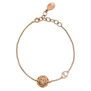 Dior Secret Cannage Faux Pearl Rose Gold Tone Bracelet