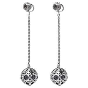 Dior Silver Tone Cannage Drop Earrings