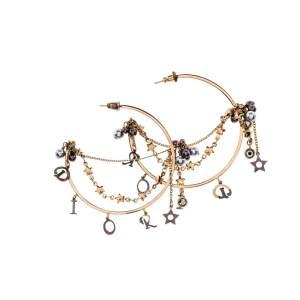 Dior Crystal & Pearl Fringed Gold Tone Hoop Earrings