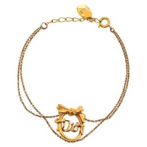 سوار ديور فينتدج فيونكة والشعار سلسلة مزدوجة ذهبي اللون