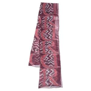 Dior Burgundy Logo and Chevron Printed Silk Scarf