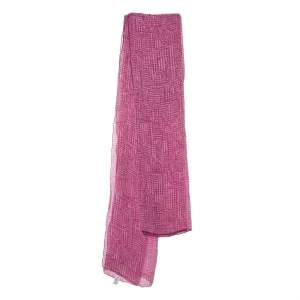 Dior Purple Oblique Motif Print Silk Scarf