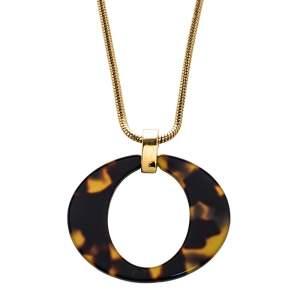 Dior Vintage Tortoishell Effect Signature O Pendant Necklace