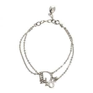 Dior Crystal Logo Silver Tone Double Chain Bracelet