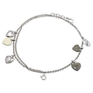Dior Silver Tone Pop Hearts Charm Layered Bracelet