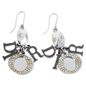 Dior Silver Tone Crystal Drop Hook Earrings