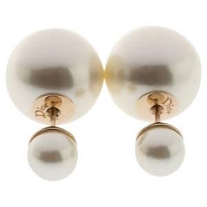 Dior Cream Faux Pearl Mise en Dior Tribales Earrings