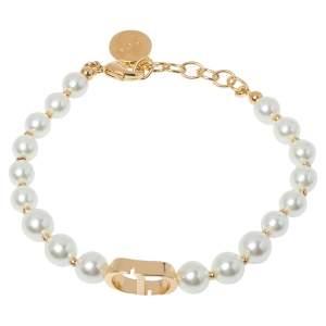 Dior 30 Montaigne Gold Tone Pearl Bracelet